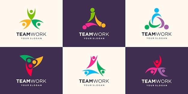 社会的人々のグループのロゴデザインテンプレート。抽象人アイコン