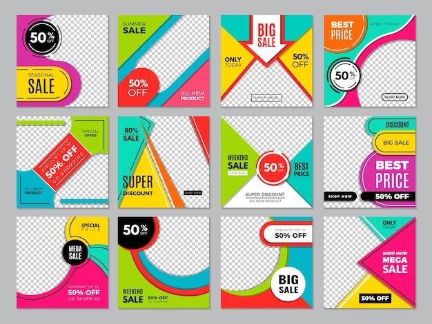 Social post template. media fashion banners digital brochures marketing promo bundles vector set.