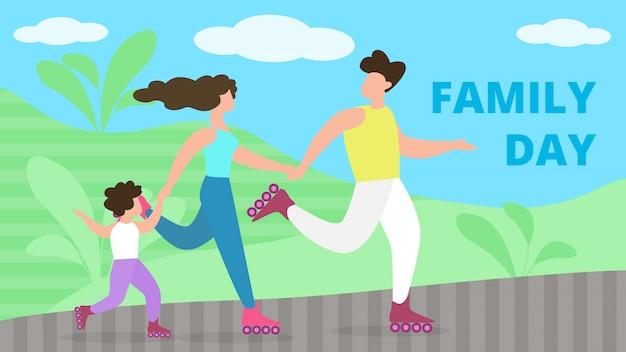 Social poster is written family day cartoon flat.