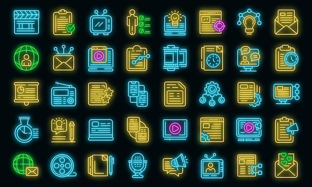 Набор иконок социальных проектов. наброски набор социальных проектов векторных иконок неонового цвета на черном