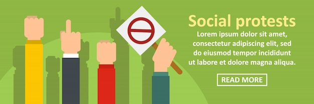 Social protests banner template horizontal concept