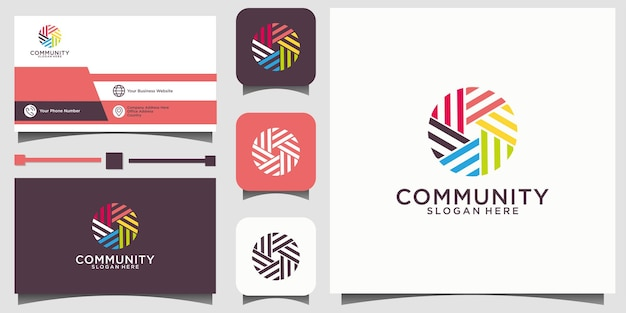 Social relationship logo and business card vector