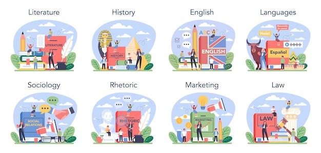 Набор предметов социальной школы или учебных классов. студент, изучающий социальные