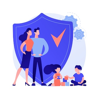 Social security abstract concept vector illustration. social security benefit, state allowance, retirement insurance, happy disabled person, old, elderly couple, sign agreement abstract metaphor.