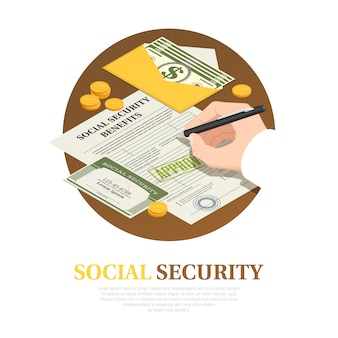 Social security benefits isometric composition