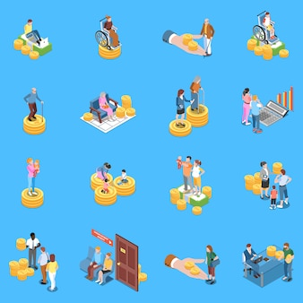 Social security benefits isometric elements set