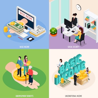 Social security concept illustration set
