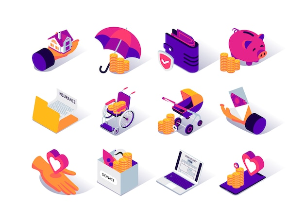 Social security isometric icons set.
