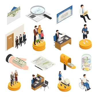 Social security isometric icons