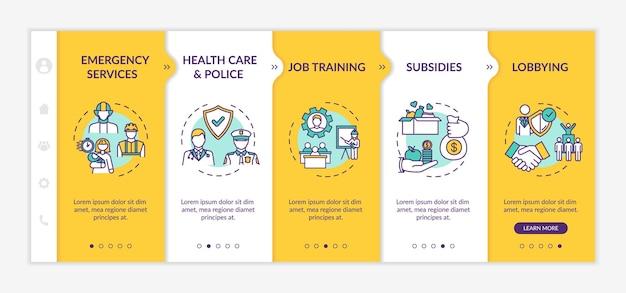 社会福祉オンボーディングベクトルテンプレート。ヘルスケア、雇用支援。政府の支援。アイコン付きのレスポンシブモバイルサイト。 webページのウォークスルーステップ画面。 rgbカラーコンセプト
