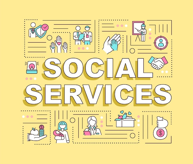 Social services word concepts banner. non profit assistance for public community. infographics with linear icons on yellow background. isolated typography. vector outline rgb color illustration