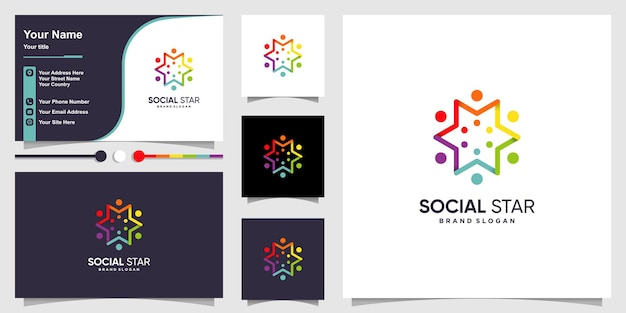 Social star logo template with modern abstract concept and business card design