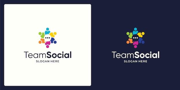 Social team network logo design vector and chat logo.