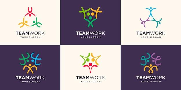 ソーシャルチームワークのロゴデザインテンプレート。抽象人アイコン