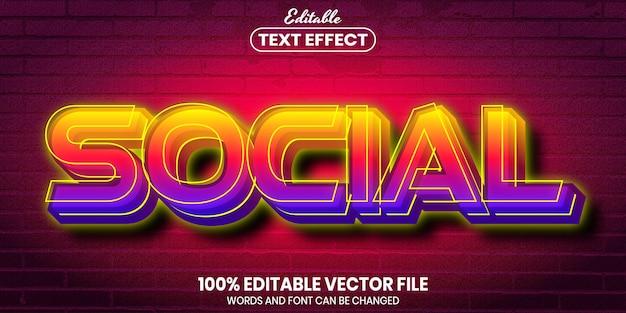 Social text, font style editable text effect