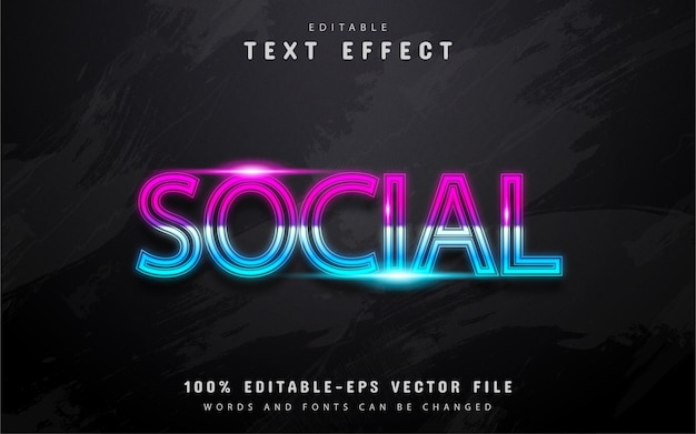 Social text, neon gradient style text effect