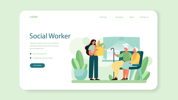 Social volunteer web banner or landing page. charity community support and take care of people in need. idea of care and humanity. disabled and senior people support. isolated vector illustration