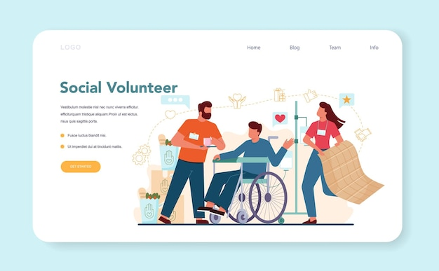Social volunteer web banner or landing page