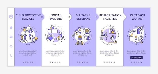 사회 복지 온보딩 벡터 템플릿입니다. 아동 보호 서비스. 재활센터. 아이콘이 있는 반응형 모바일 웹사이트입니다. 웹페이지 연습 단계 화면. rgb 색상 개념