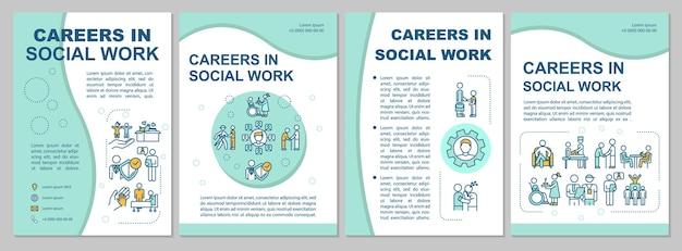 Шаблон брошюры социального работника. занятость для людей. флаер, буклет, печать листовок, дизайн обложки с линейными иконками. векторные макеты для журналов, годовых отчетов, рекламных плакатов