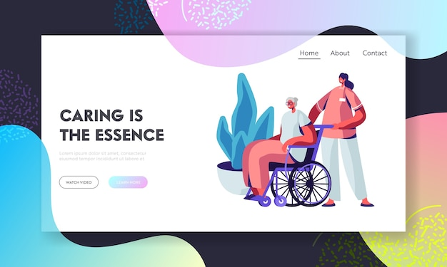 Social worker care of sick senior woman on wheelchair landing page template