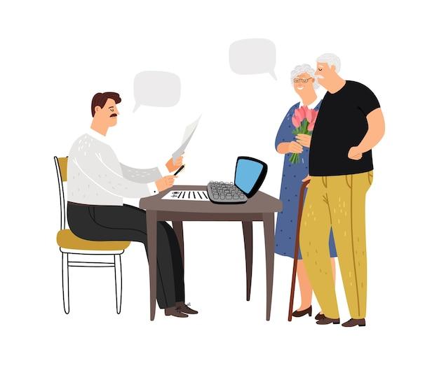 Социальный работник. пожилая пара у социального работника. оформление документов, сотрудник государственного учреждения на работе.