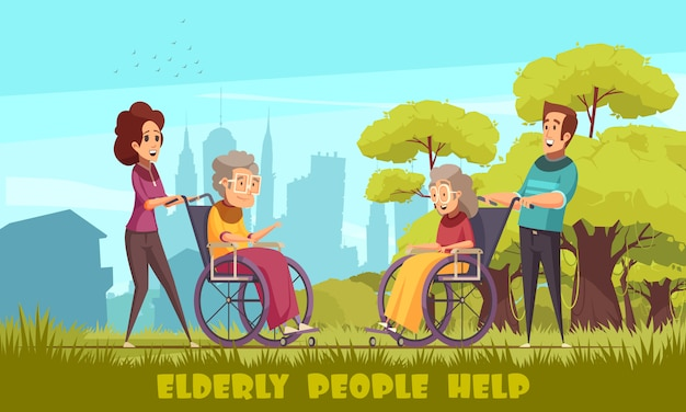 Social workers nursery home volunteers taking elderly disables people in wheelchairs outdoor flat cartoon