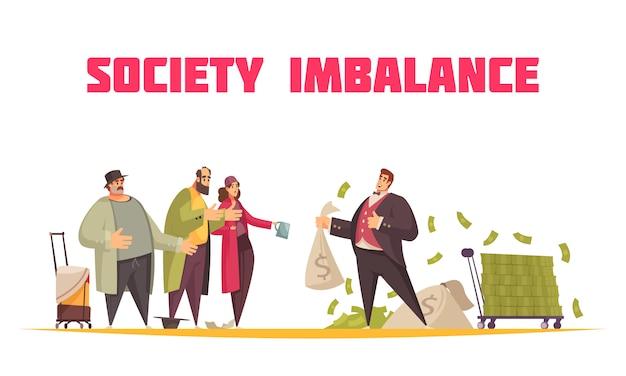 Горизонтальная композиция плоского мультяшного дисбаланса общества с богатым человеком, держащим доллары в мешках и нищие