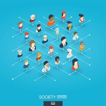 Общество интегрированных 3d веб-иконки. цифровая сеть изометрической концепции