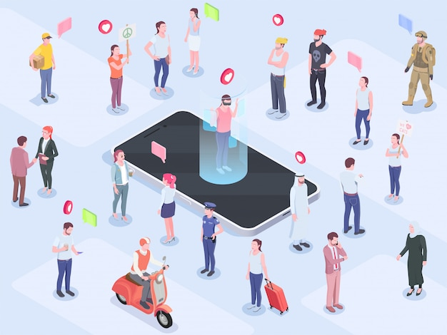 Society people isometric concept with composition of human characters emoticon pictograms thought bubble pictograms and phone vector illustration