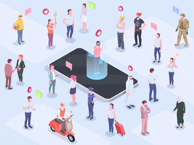 Il concetto isometrico della gente della società con composizione dei pittogrammi dell'emoticon dei caratteri umani ha pensato i pittogrammi della bolla e l'illustrazione di vettore del telefono
