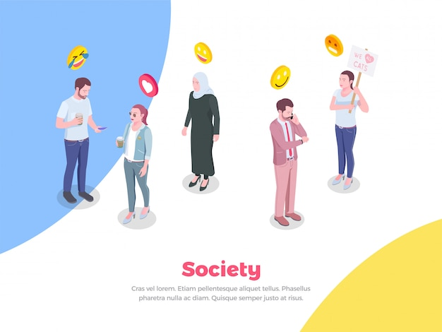 Society people isometric with doodle style human characters and emoji smiles emoticons