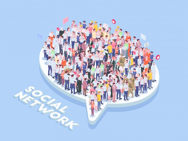 Society people isometric with text and thought bubble icon with lots of realistic human characters vector illustration