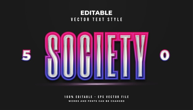 Society text style in colorful futuristic gradient with glowing effect