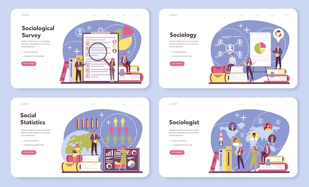 Sociologist web banner or landing page set. scientist study of society, pattern of social relationship, social interaction, and culture.