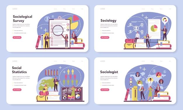 사회 학자 웹 배너 또는 방문 페이지 세트. 사회, 사회 관계 패턴, 사회적 상호 작용 및 문화에 대한 과학자 연구.