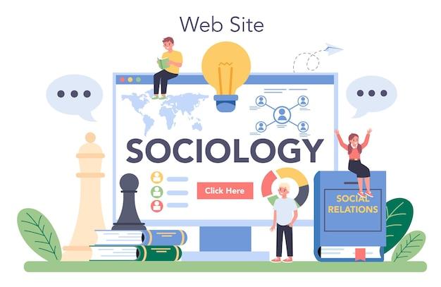 社会学の教科オンラインサービスまたはプラットフォーム。社会、社会関係のパターン、文化を学ぶ学生。ウェブサイト。ベクトルイラスト