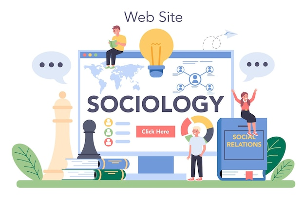 Sociology school subject online service or platform. students studying society, pattern of social relationship and culture. website. vector illustration