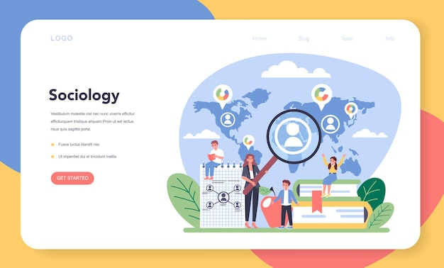 Sociology school subject web banner or landing page