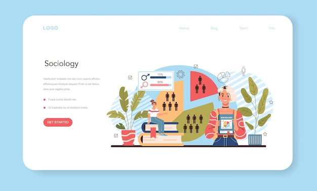 Веб-баннер или целевая страница для школьников социологии, изучающих общество