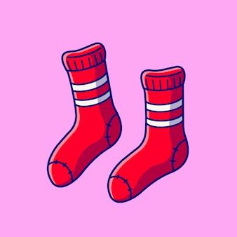 靴下漫画アイコンイラスト。分離されたファッションオブジェクトアイコンの概念。フラット漫画スタイル