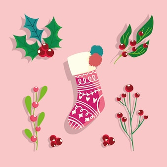Sock holly berry christmas celebration and decoration