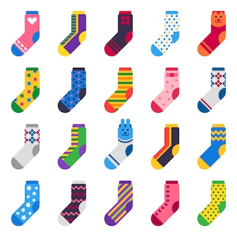 Sock icons. kids feet clothes and striped warm hosiery isolated flat set