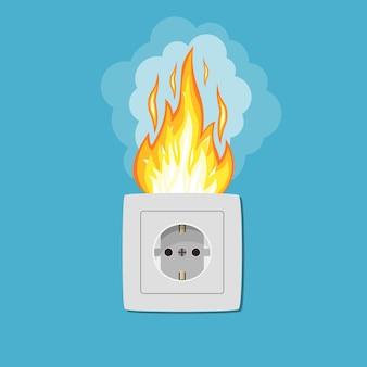 Socket in fire. electric circuit broken