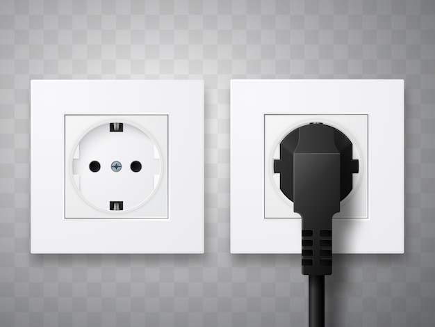 Socket and plug inserted in electrical outlet isolated.