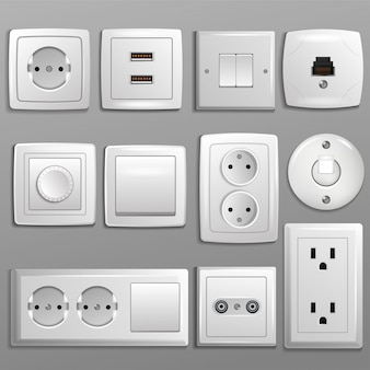 Socket and switch vector electrical outlet for electric plugs and electricity illustration set of different types of power sockets and switchers isolated
