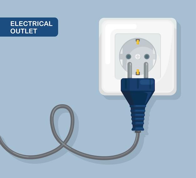 プラグ付きソケット。電気。家庭用電気の接続と切断