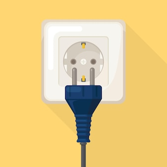 Socket with plug. electricity. home electrical connect and disconnect