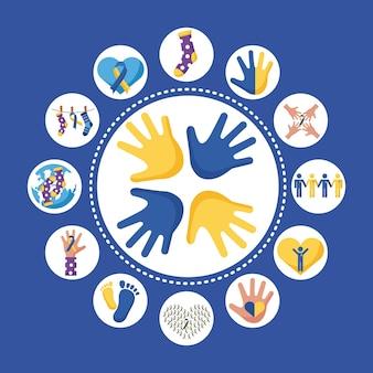 Носки и ленты кампании, висящие с пучком синдромов дауна, набор иконок.