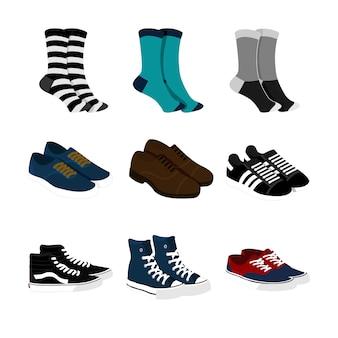 Socks and shoes fashion style item illustration set